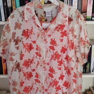 Floral Burnout Blouse with Coordinating Tank